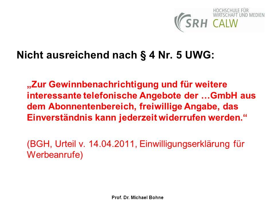 Nicht ausreichend nach § 4 Nr. 5 UWG: