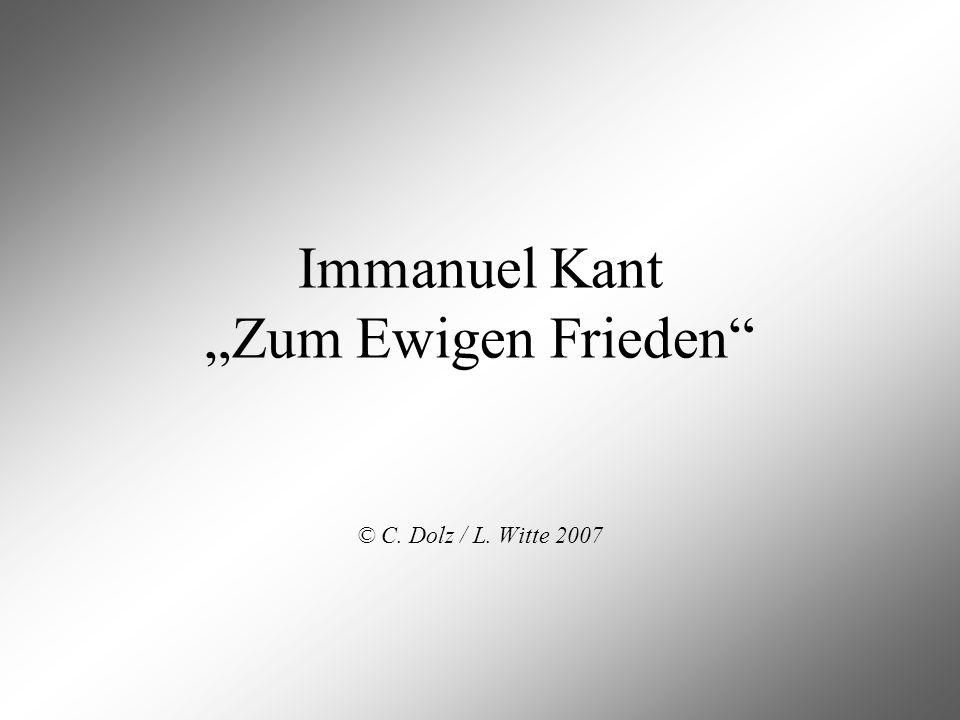 """Immanuel Kant """"Zum Ewigen Frieden"""