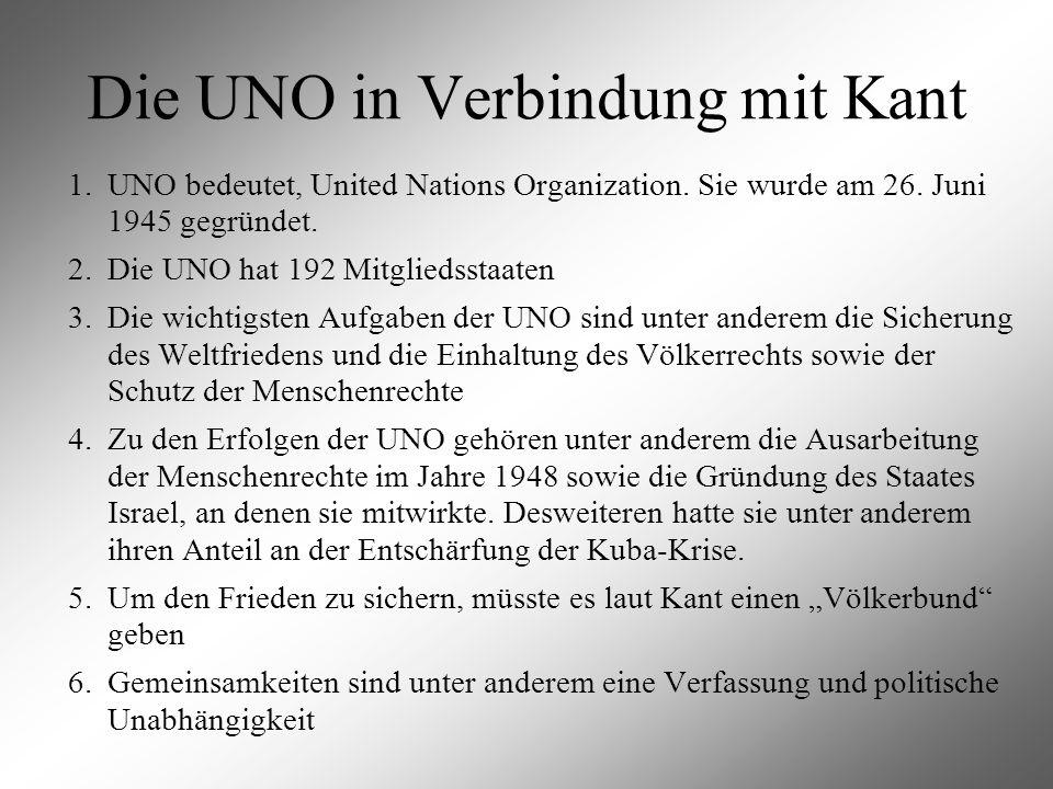 Die UNO in Verbindung mit Kant
