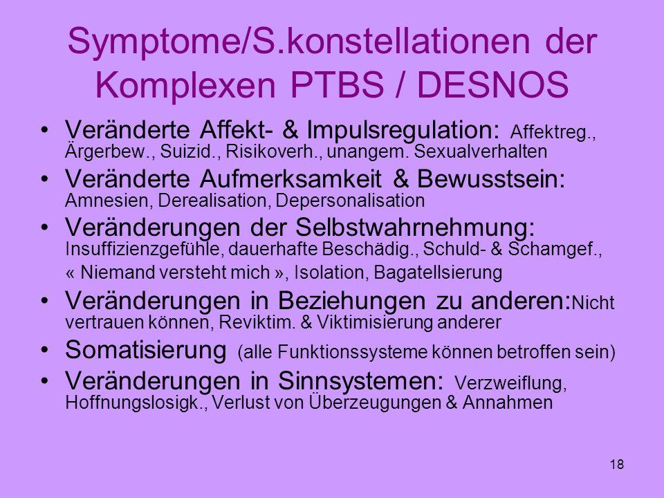 Symptome/S.konstellationen der Komplexen PTBS / DESNOS