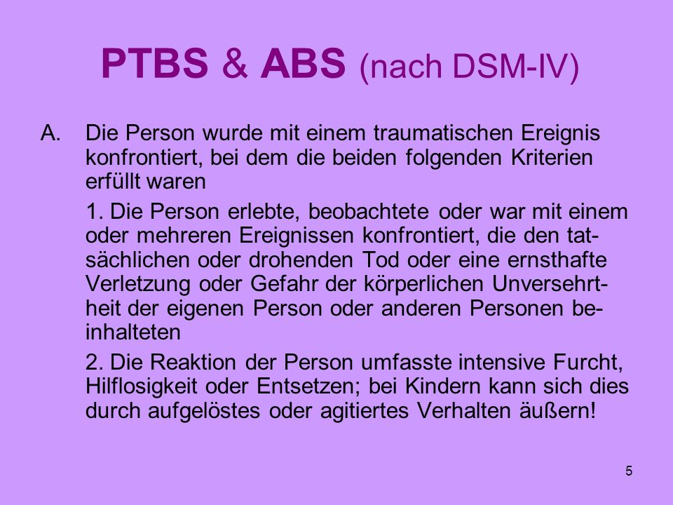 PTBS & ABS (nach DSM-IV)