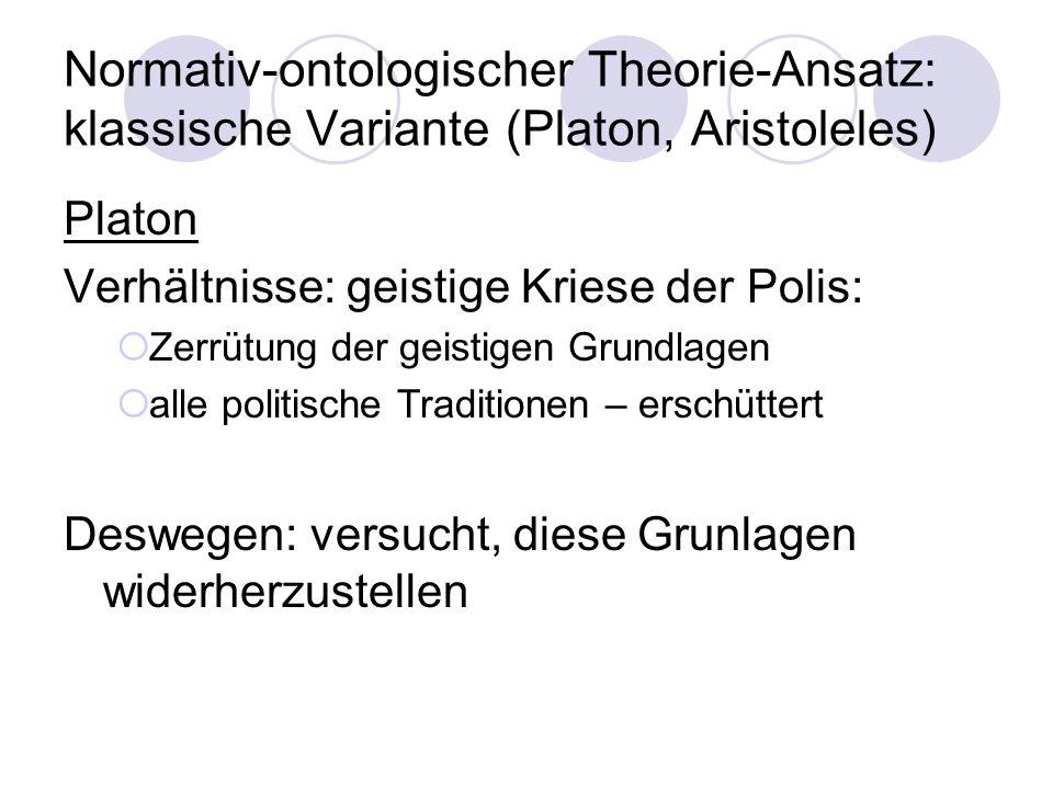 Normativ-ontologischer Theorie-Ansatz: klassische Variante (Platon, Aristoleles)
