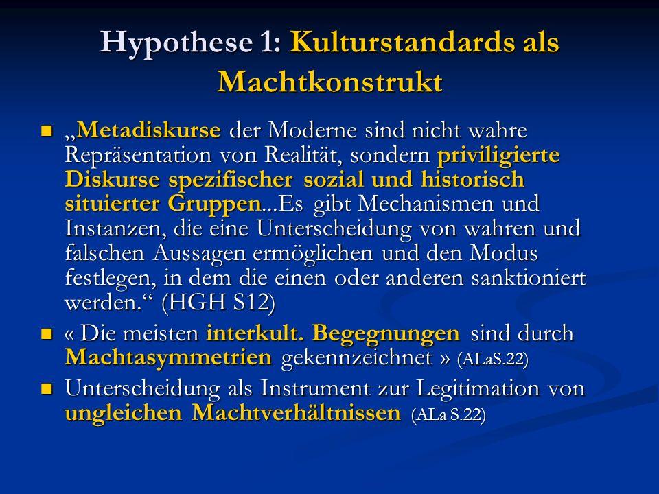 Hypothese 1: Kulturstandards als Machtkonstrukt