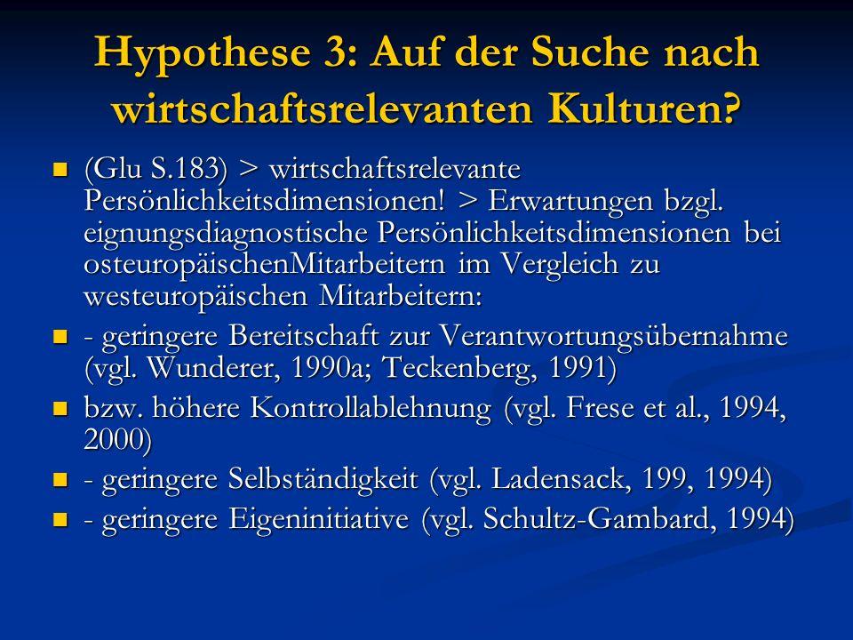 Hypothese 3: Auf der Suche nach wirtschaftsrelevanten Kulturen