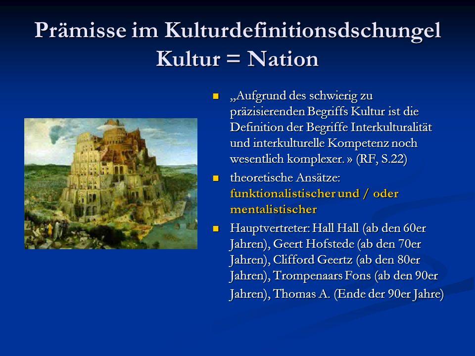 Prämisse im Kulturdefinitionsdschungel Kultur = Nation