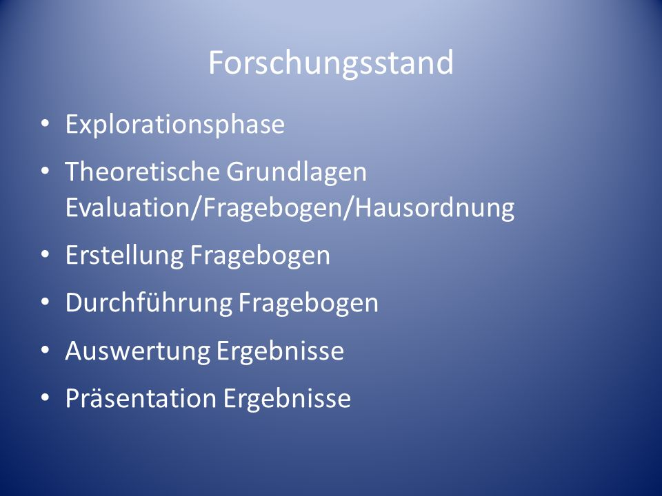 Forschungsstand Explorationsphase