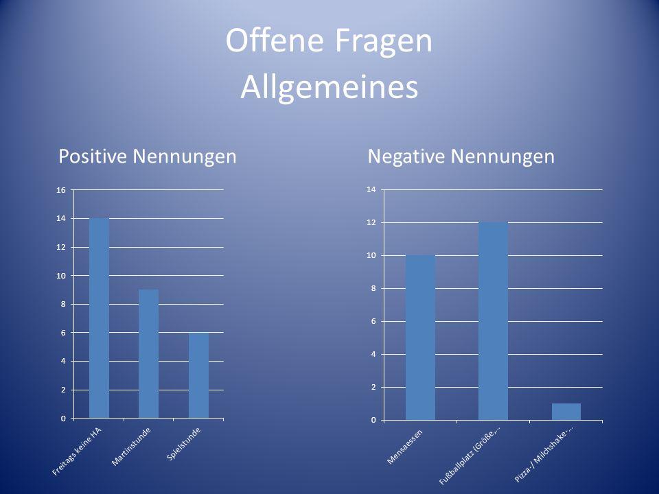 Offene Fragen Allgemeines Positive Nennungen Negative Nennungen