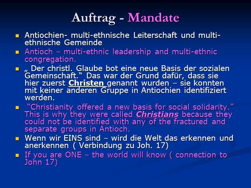 Auftrag - Mandate Antiochien- multi-ethnische Leiterschaft und multi-ethnische Gemeinde.