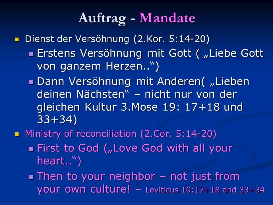 """Auftrag - Mandate Dienst der Versöhnung (2.Kor. 5:14-20) Erstens Versöhnung mit Gott ( """"Liebe Gott von ganzem Herzen.. )"""