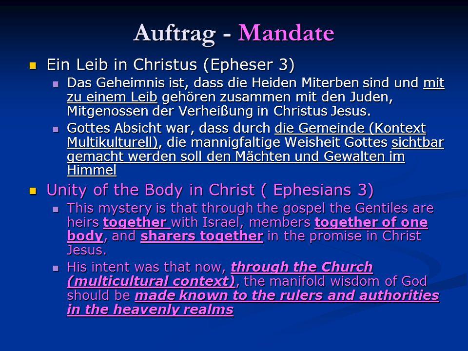 Auftrag - Mandate Ein Leib in Christus (Epheser 3)