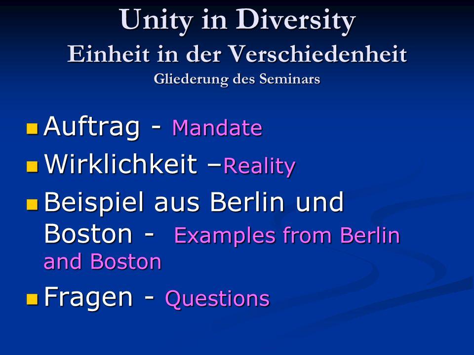 Unity in Diversity Einheit in der Verschiedenheit Gliederung des Seminars