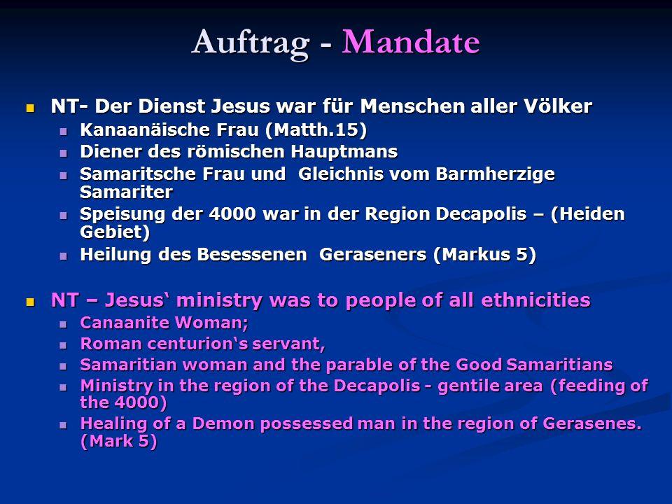 Auftrag - Mandate NT- Der Dienst Jesus war für Menschen aller Völker