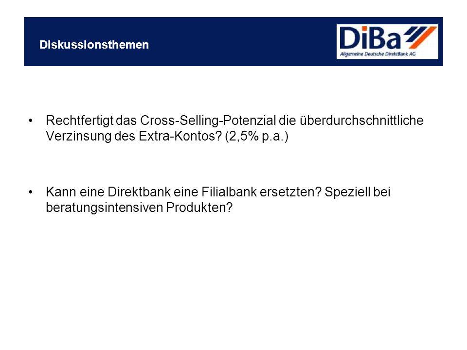 Diskussionsthemen Rechtfertigt das Cross-Selling-Potenzial die überdurchschnittliche Verzinsung des Extra-Kontos (2,5% p.a.)