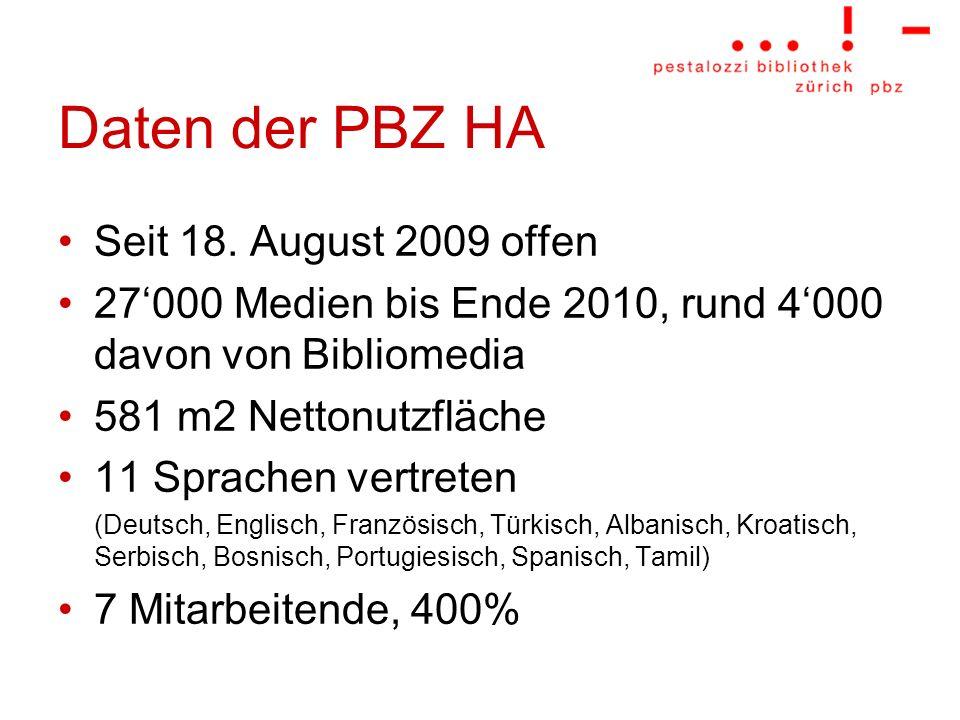 Daten der PBZ HA Seit 18. August 2009 offen
