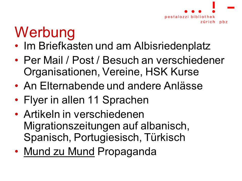 Werbung Im Briefkasten und am Albisriedenplatz