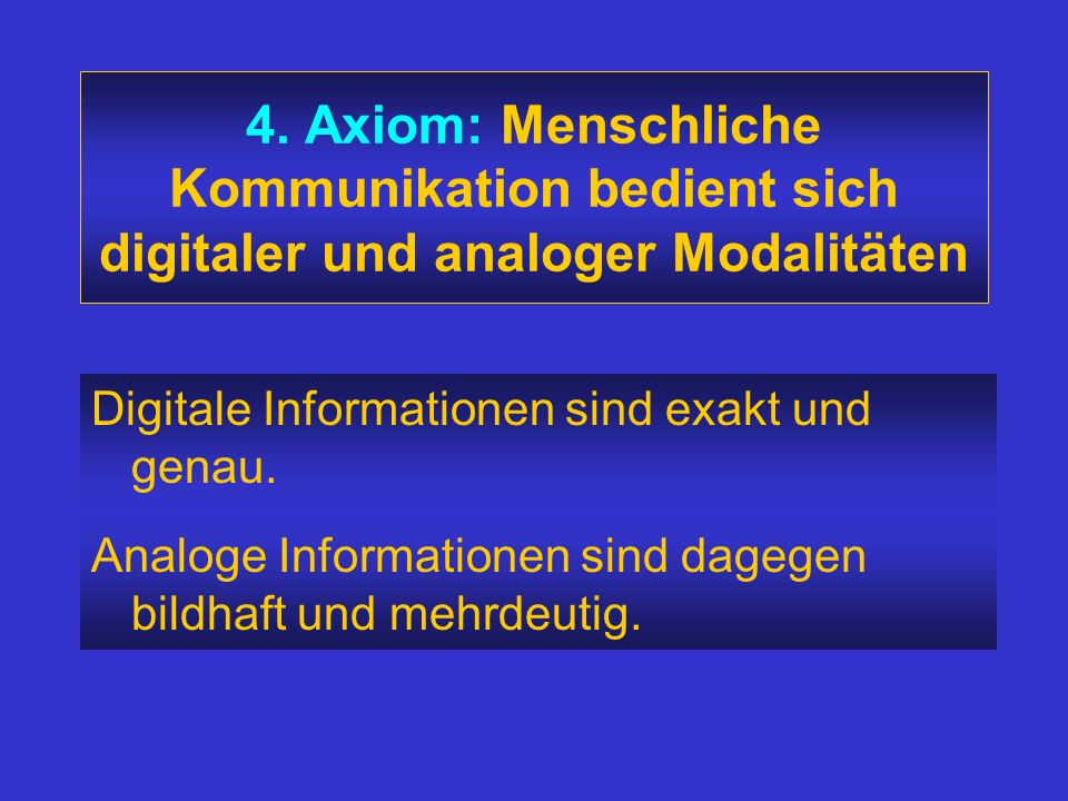 4. Axiom: Menschliche Kommunikation bedient sich digitaler und analoger Modalitäten