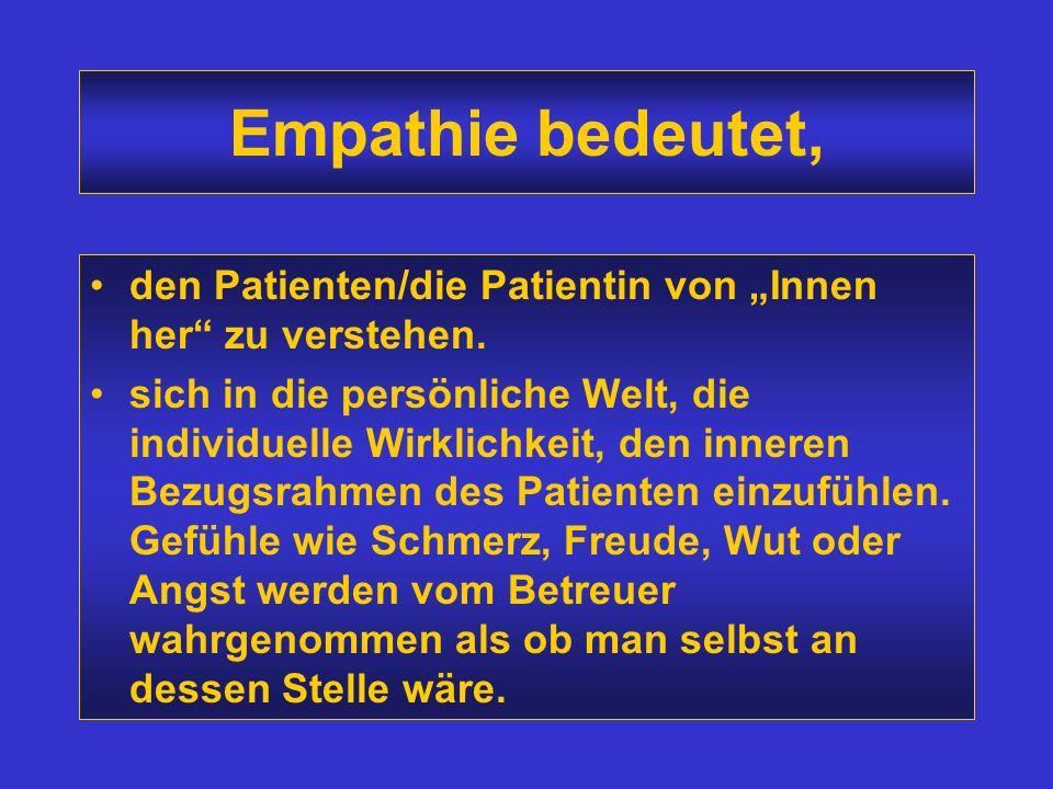 """Empathie bedeutet,den Patienten/die Patientin von """"Innen her zu verstehen."""