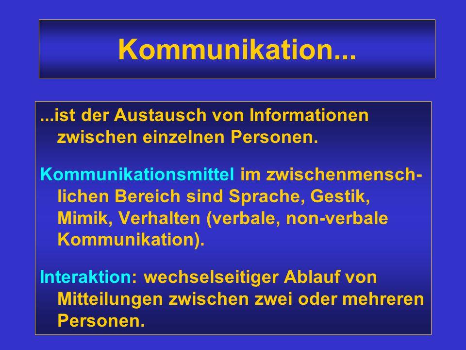 Kommunikation......ist der Austausch von Informationen zwischen einzelnen Personen.