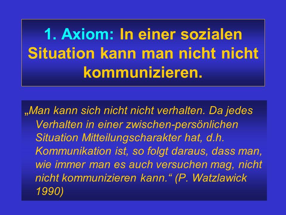 1. Axiom: In einer sozialen Situation kann man nicht nicht kommunizieren.