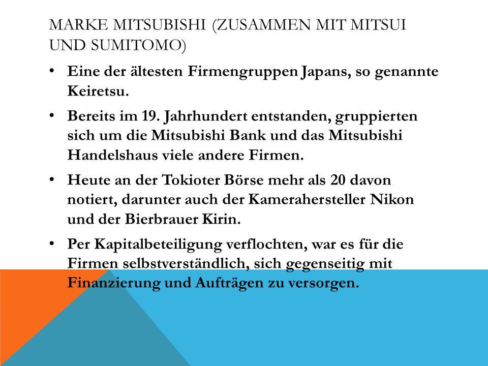 Marke Mitsubishi (zusammen mit Mitsui und Sumitomo)