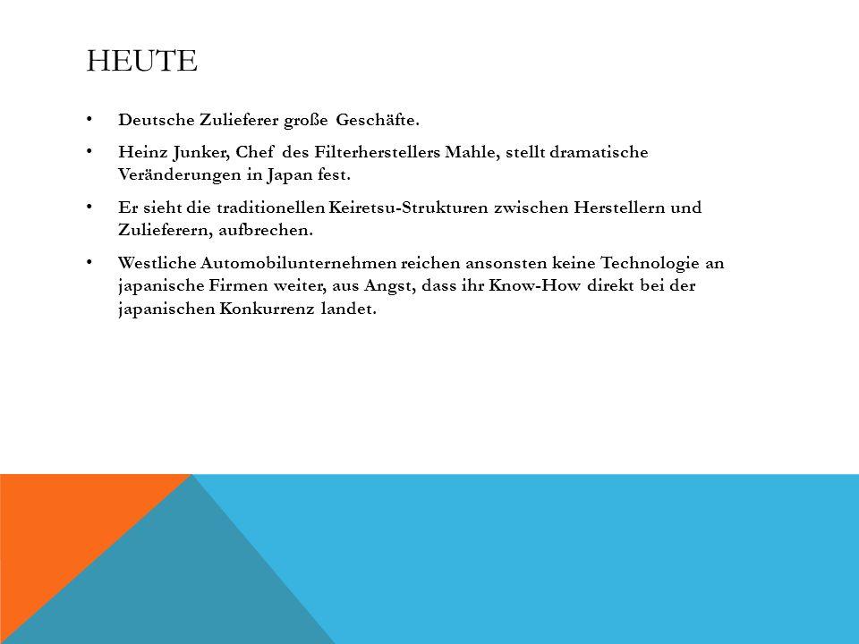Heute Deutsche Zulieferer große Geschäfte.