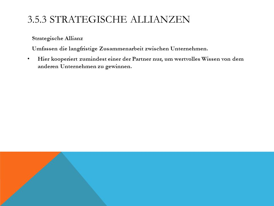 3.5.3 Strategische Allianzen