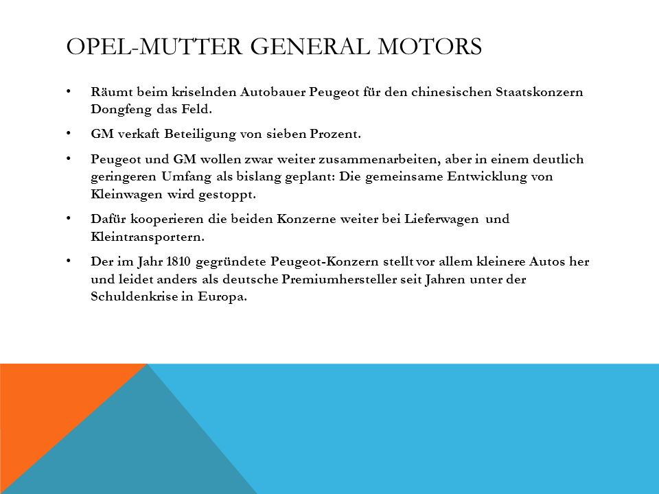 Opel-Mutter General Motors