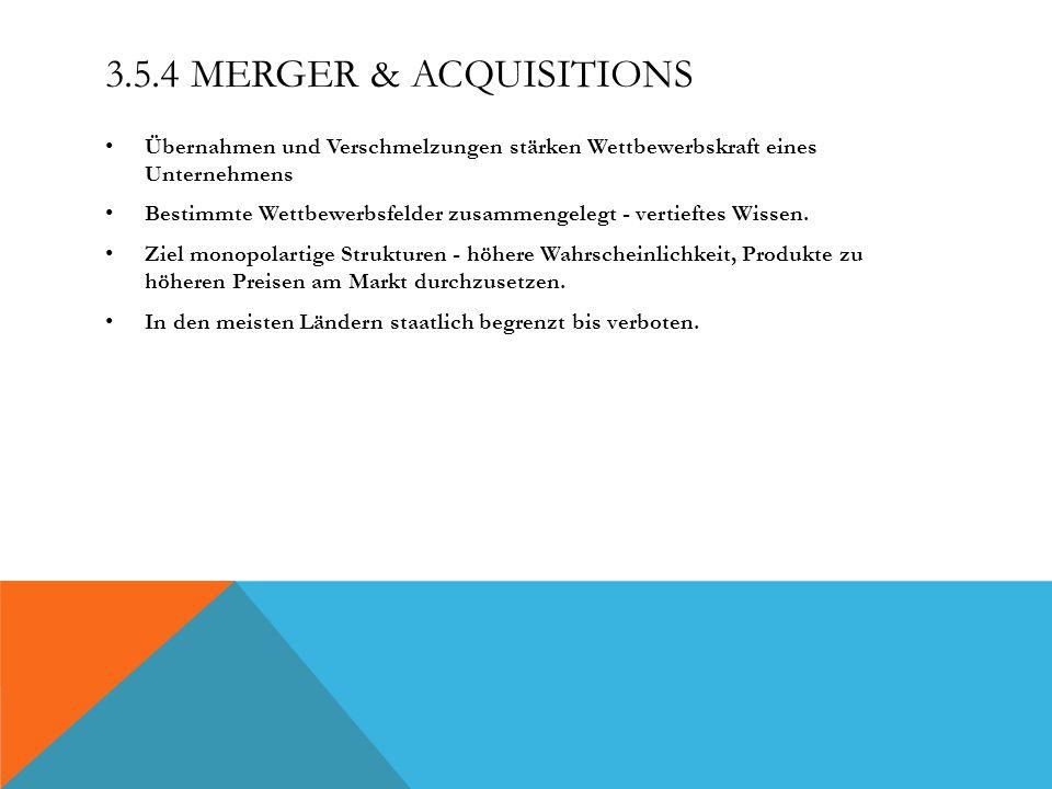 3.5.4 Merger & Acquisitions Übernahmen und Verschmelzungen stärken Wettbewerbskraft eines Unternehmens.