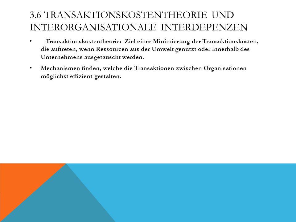 3.6 Transaktionskostentheorie und interorganisationale Interdepenzen