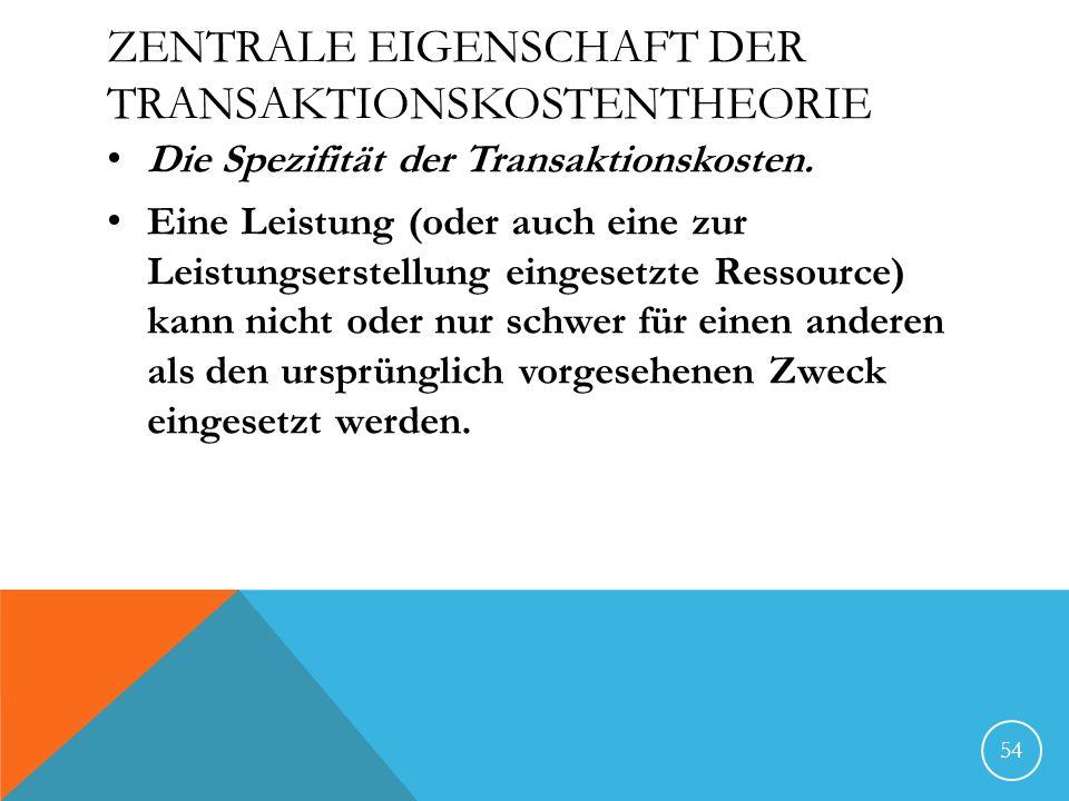 Zentrale Eigenschaft der Transaktionskostentheorie