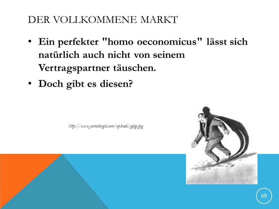 Der vollkommene Markt Ein perfekter homo oeconomicus lässt sich natürlich auch nicht von seinem Vertragspartner täuschen.
