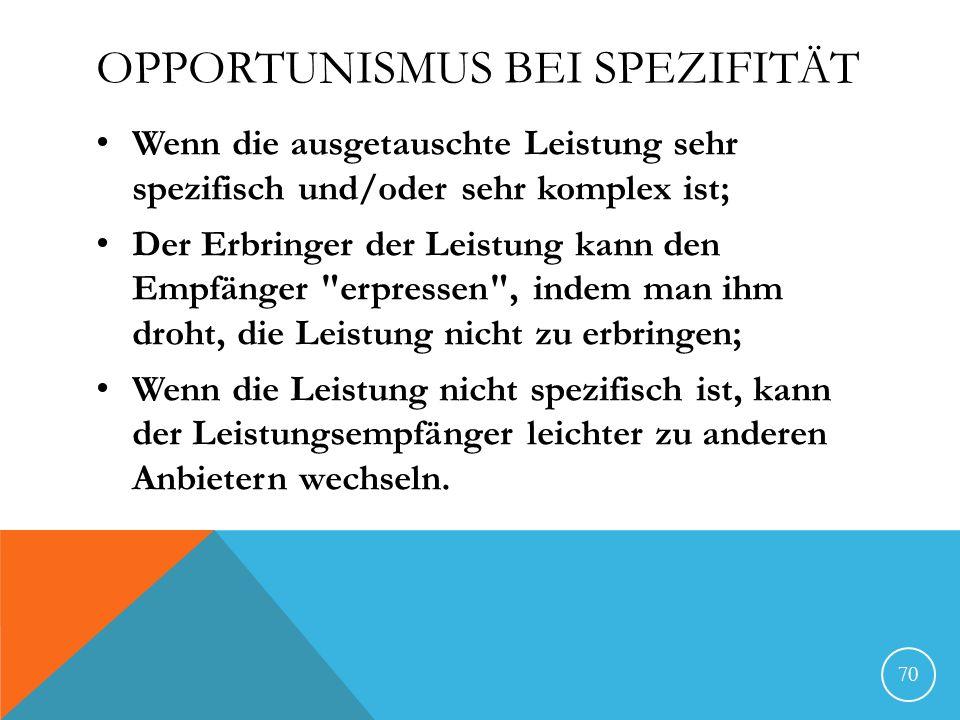 Opportunismus bei Spezifität