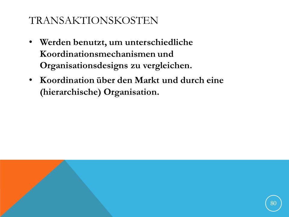 Transaktionskosten Werden benutzt, um unterschiedliche Koordinationsmechanismen und Organisationsdesigns zu vergleichen.