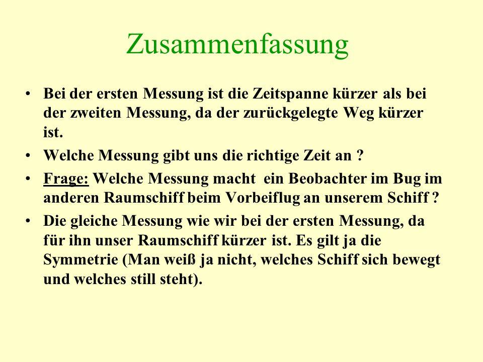 Zusammenfassung Bei der ersten Messung ist die Zeitspanne kürzer als bei der zweiten Messung, da der zurückgelegte Weg kürzer ist.