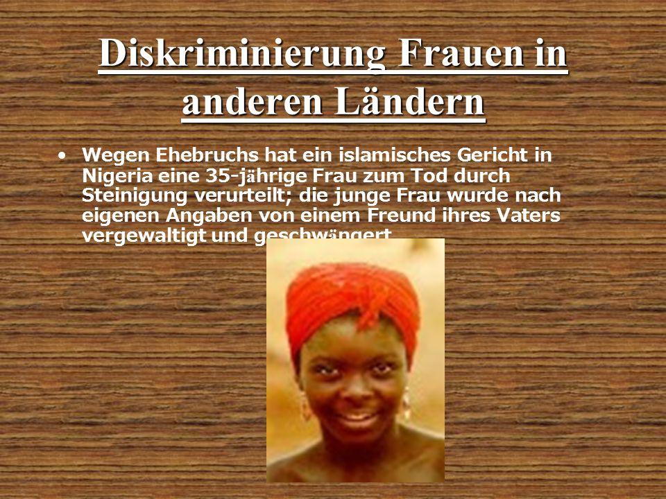 Diskriminierung Frauen in anderen Ländern