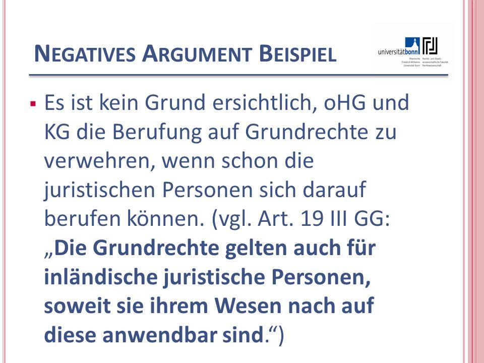 Negatives Argument Beispiel