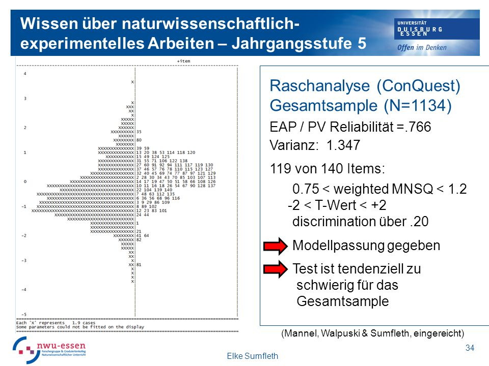 Raschanalyse (ConQuest) Gesamtsample (N=1134)