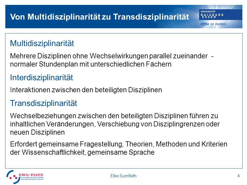 Von Multidisziplinarität zu Transdisziplinarität