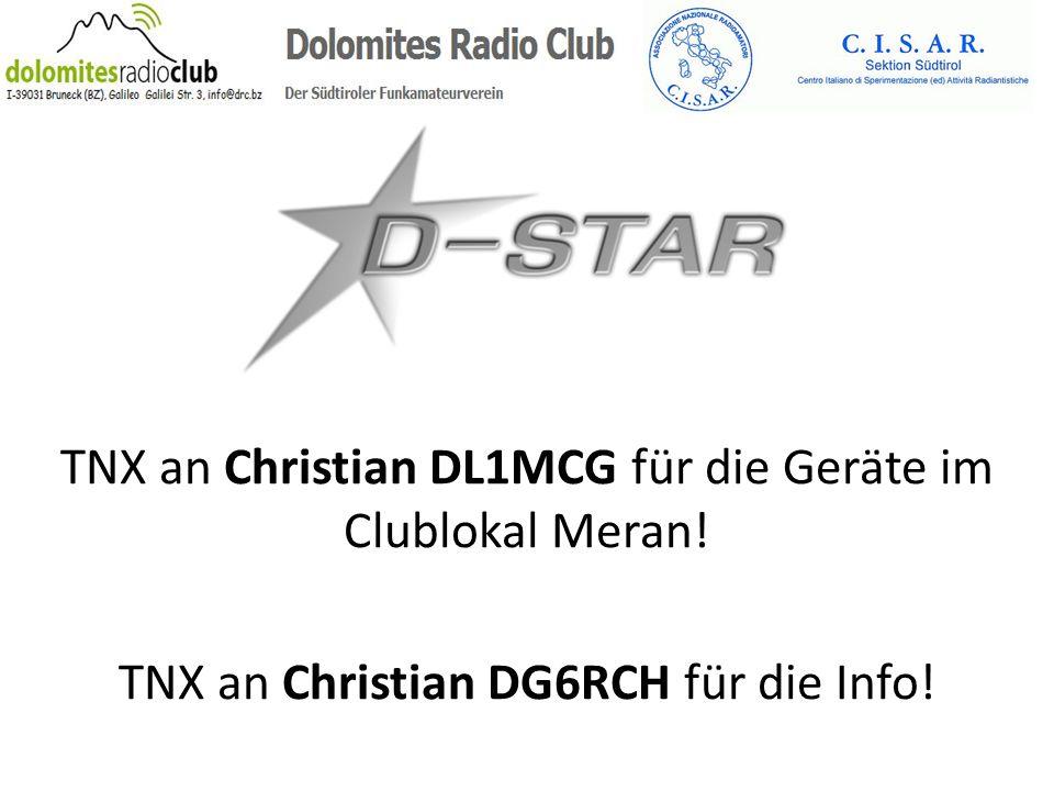 TNX an Christian DL1MCG für die Geräte im Clublokal Meran!
