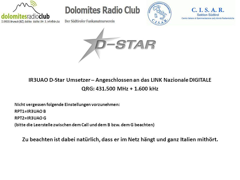 IR3UAO D-Star Umsetzer – Angeschlossen an das LINK Nazionale DIGITALE