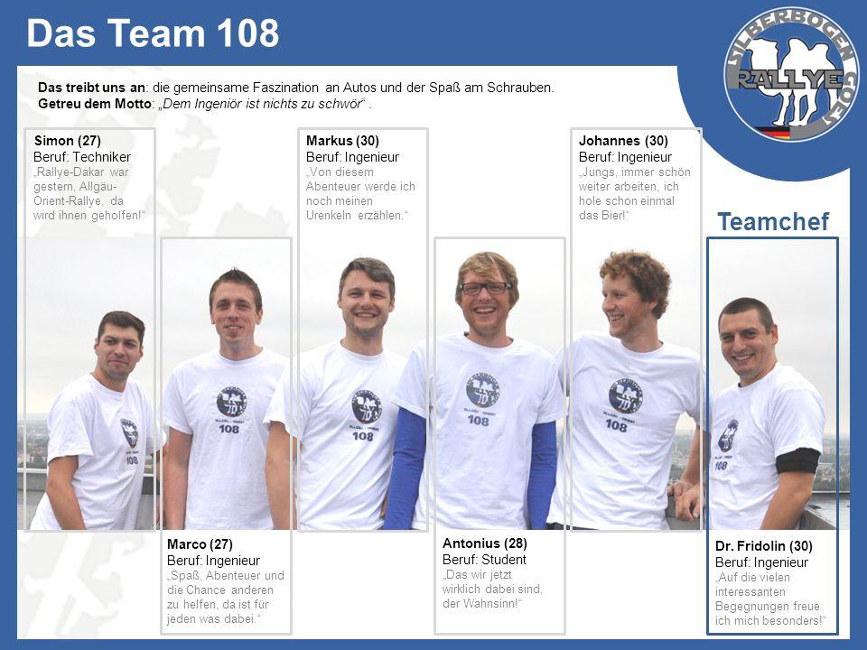 Das Team 108 Das treibt uns an: die gemeinsame Faszination an Autos und der Spaß am Schrauben.
