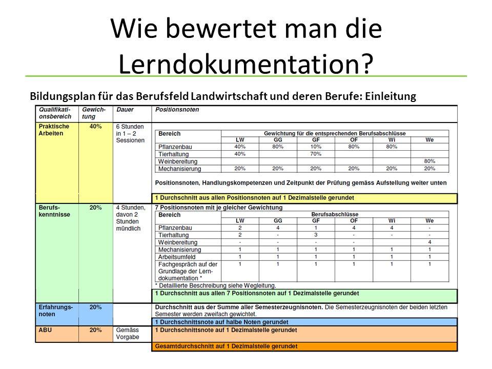 Wie bewertet man die Lerndokumentation