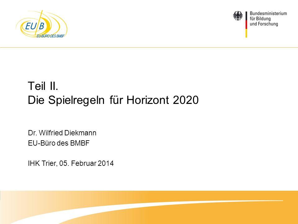 Teil II. Die Spielregeln für Horizont 2020