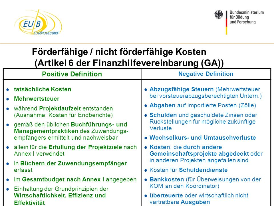 Förderfähige / nicht förderfähige Kosten (Artikel 6 der Finanzhilfevereinbarung (GA))