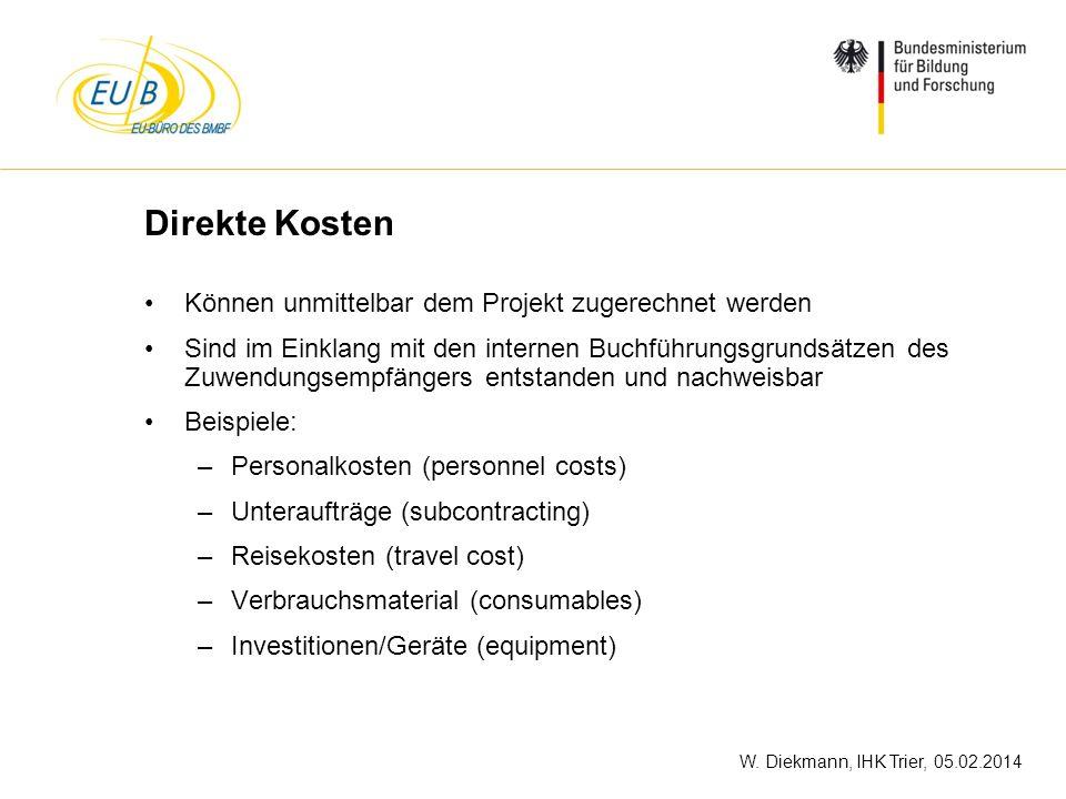 Direkte Kosten Können unmittelbar dem Projekt zugerechnet werden