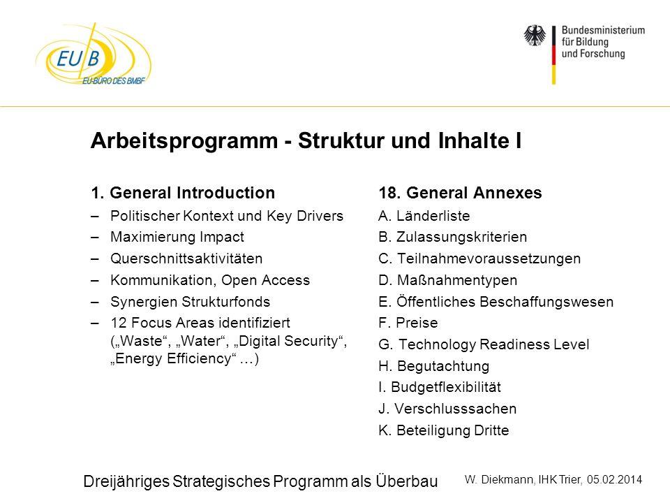 Arbeitsprogramm - Struktur und Inhalte I
