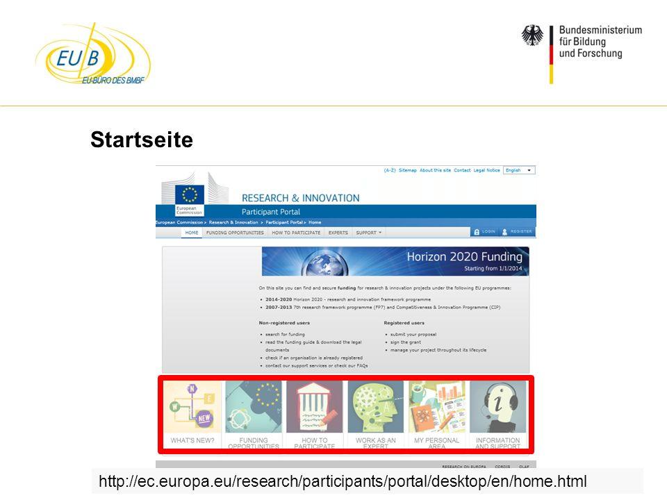 Startseite http://ec.europa.eu/research/participants/portal/desktop/en/home.html