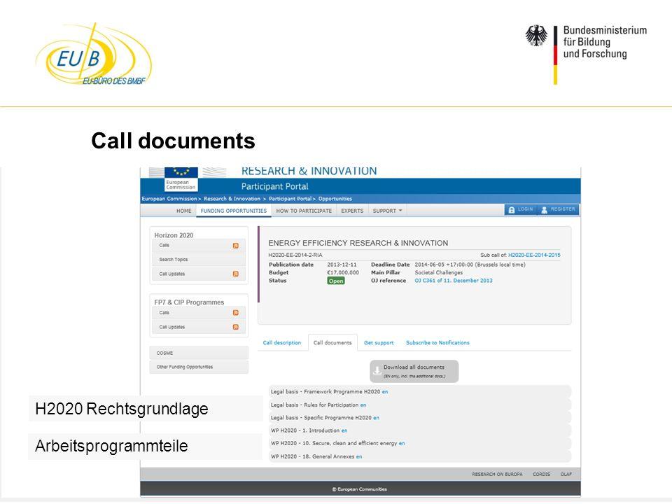 Call documents H2020 Rechtsgrundlage Arbeitsprogrammteile