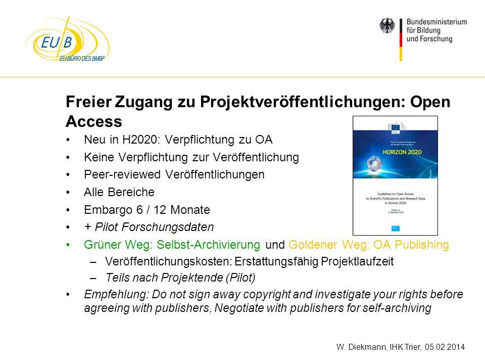 Freier Zugang zu Projektveröffentlichungen: Open Access