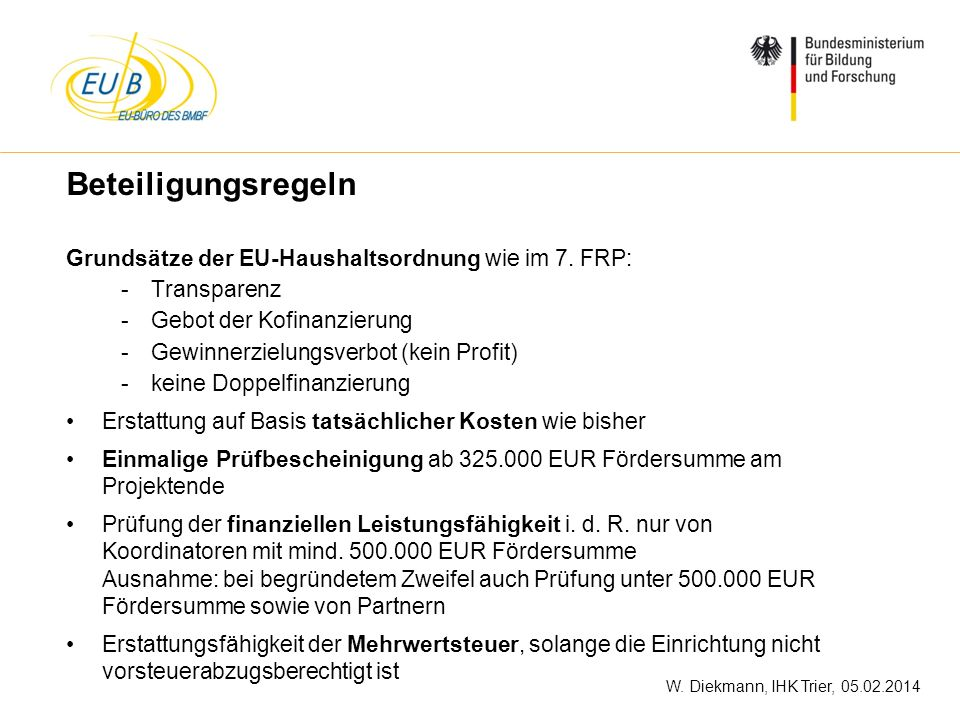Beteiligungsregeln Grundsätze der EU-Haushaltsordnung wie im 7. FRP: